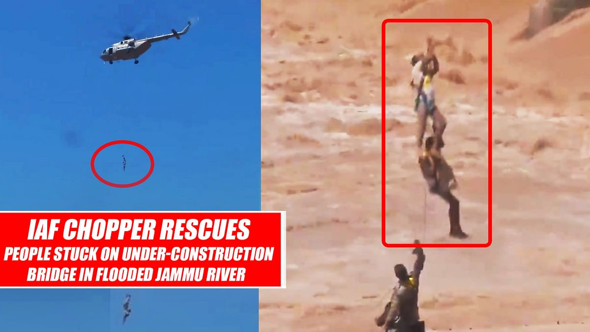 Live Rescue Operation: IAF Rescues People Stuck in Jammu's Tawi River