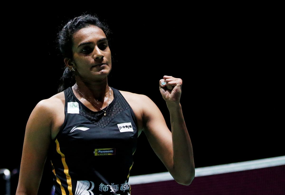 India's Pusarla Sindhu in action during her final women's singles match against Japan's Nozomi Okuhara during 2019 Badminton World Championships at St. Jakobshalle Basel in Basel