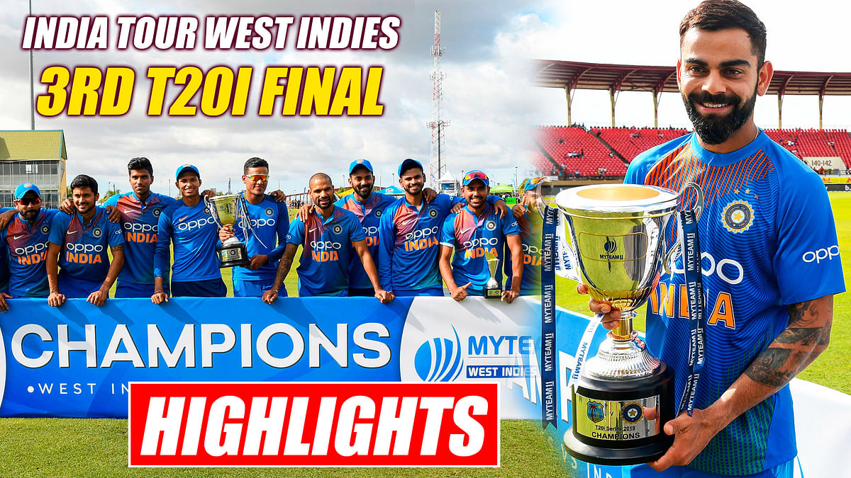 India vs West Indies 3rd T20I Final Match Highlights   IND Beat WI By 7 Wickets, Clinch Series 3-0