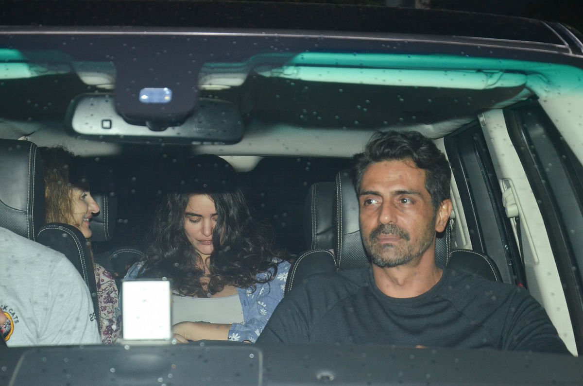 Recently become father Arjun Rampal was spotted with girlfriend Gabriella and her family in Bandra.