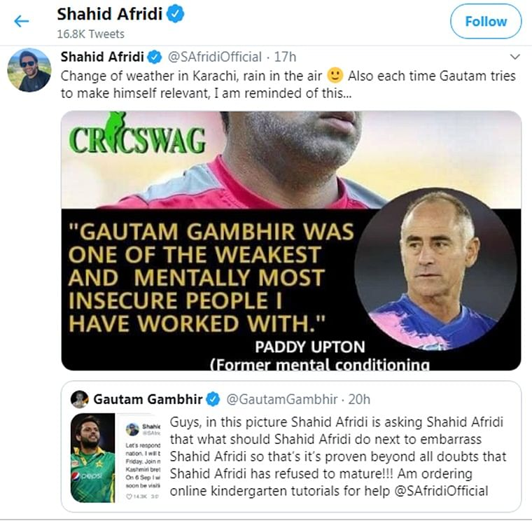 BJP MP Gautam Gambhir slams former Pakistani player Shahid Afridi on Kashmir issue