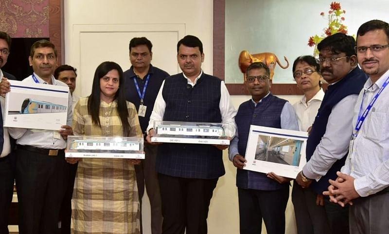 CM Fadnavis unveils rolling stock model of metro line-3