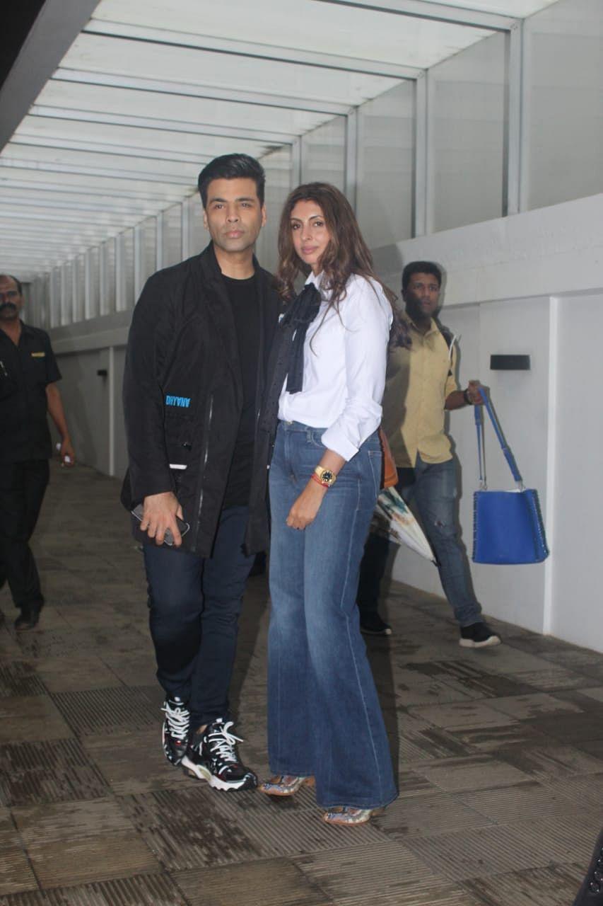 Filmmaker Karan Johar was snapped in all black with Shweta Bachchan at Hakkasan in Bandra.