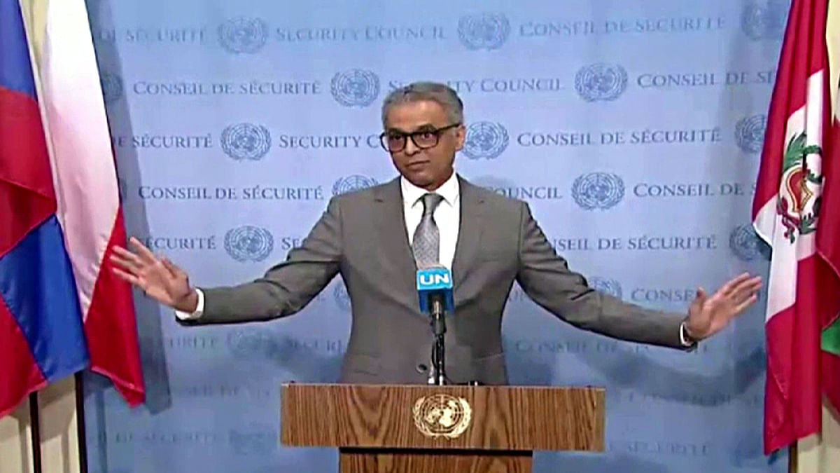 Indian Envoy to UN Syed Akbaruddin speaking on the Kashmir situation at UNSC in New York