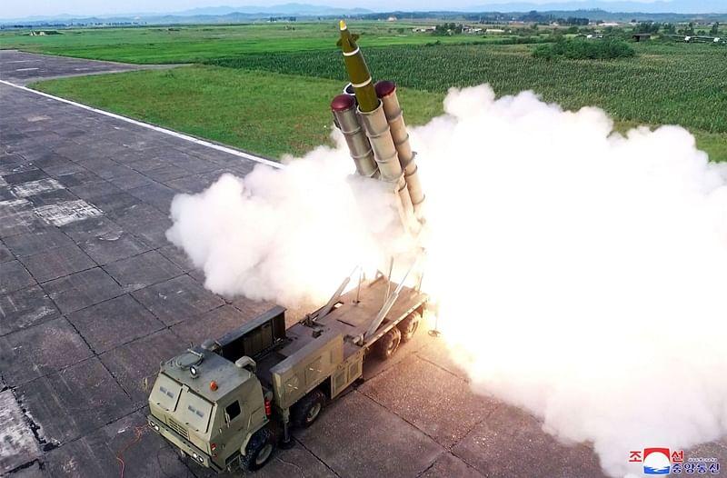 North Korea test fires super large multiple rocket launcher