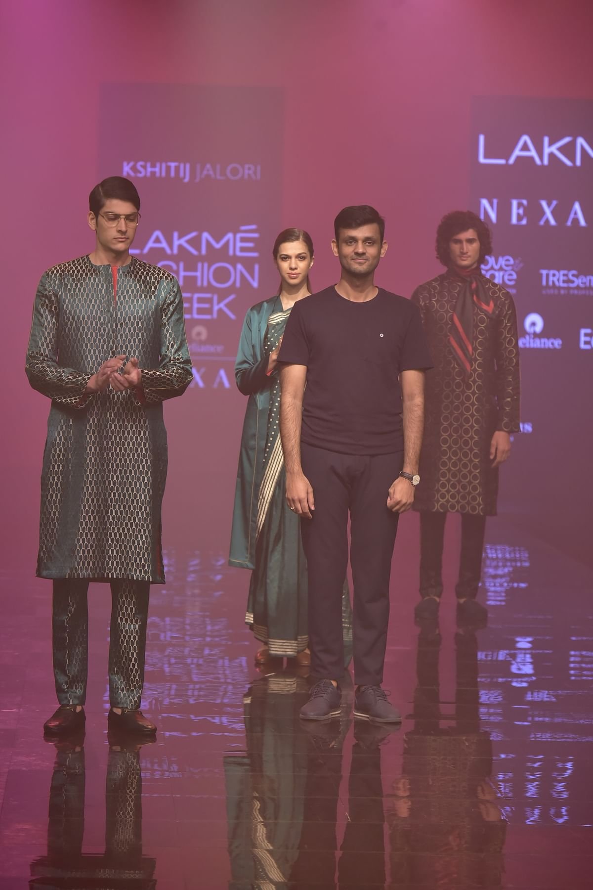 Kshitij Jalori presenting his collection with contemporary, free-flowing silhouettes.