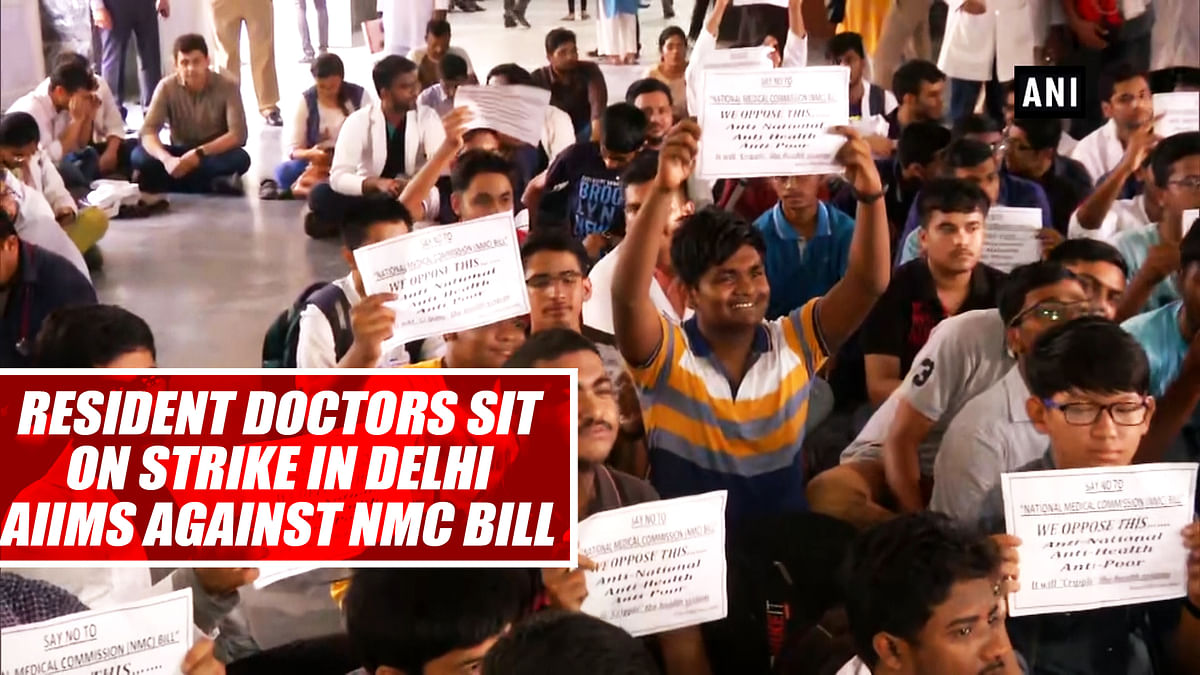 Resident Doctors Sit On Strike In Delhi's AIIMS Against NMC Bill