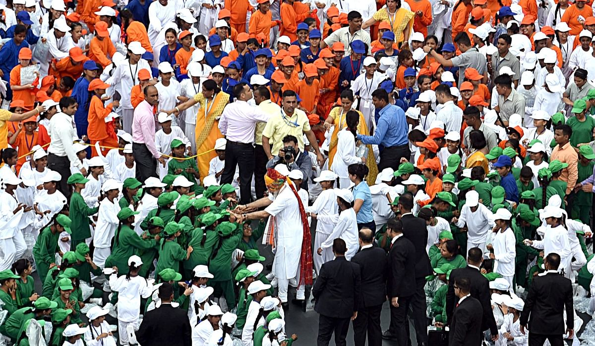 Prime Minister Narendra Modi interacting with the school children after addressing the Nation on the occasion of 73rd Independence Day, at Red Fort in New Delhi