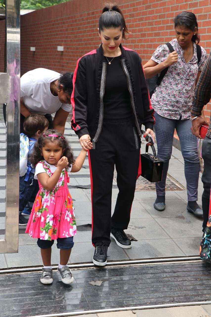 Sunny Leone was snapped in Mumbai with daughter Nisha