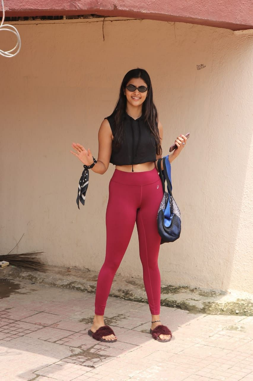 Actress Pooja Hegde was spotted post Pilates session in Mumbai.