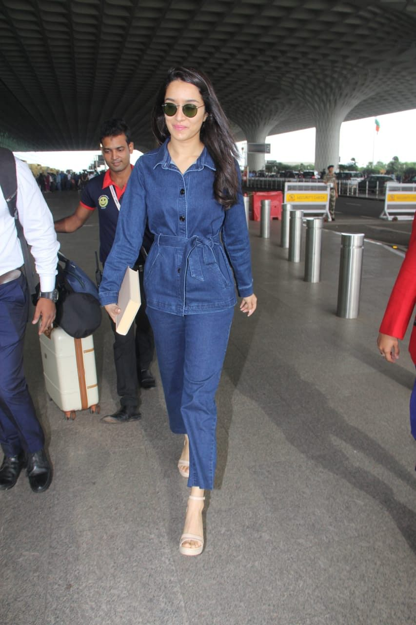 Shraddha Kapoor caught by lenses at the airport, she was all smiles to paps in denim attire.