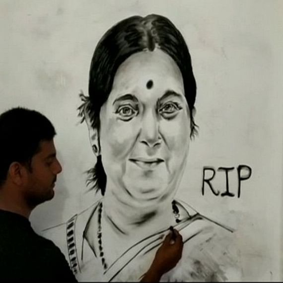 UP artist creates 6 feet charcoal portrait of Sushma Swaraj to pay tribute