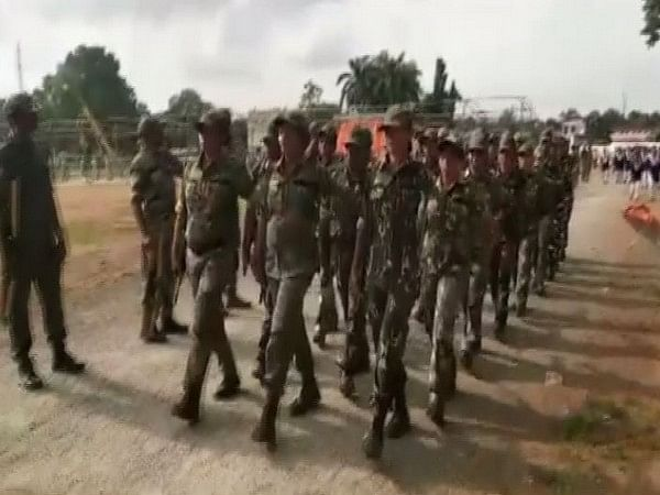 Women officers rehearsing for the Independence Day parade in Dantewada