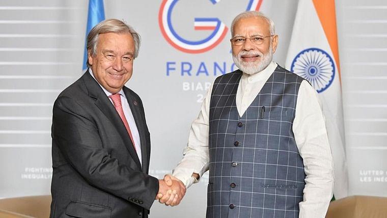 "PM Narendra Modi holds ""fruitful discussions"" with UN chief Antonio Guterres"