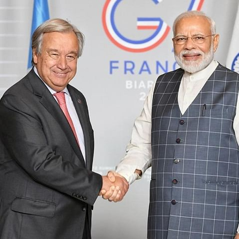 "PM Narendra Modi holds ""fruitful discussions"" with UN chief Antonio Guterres"
