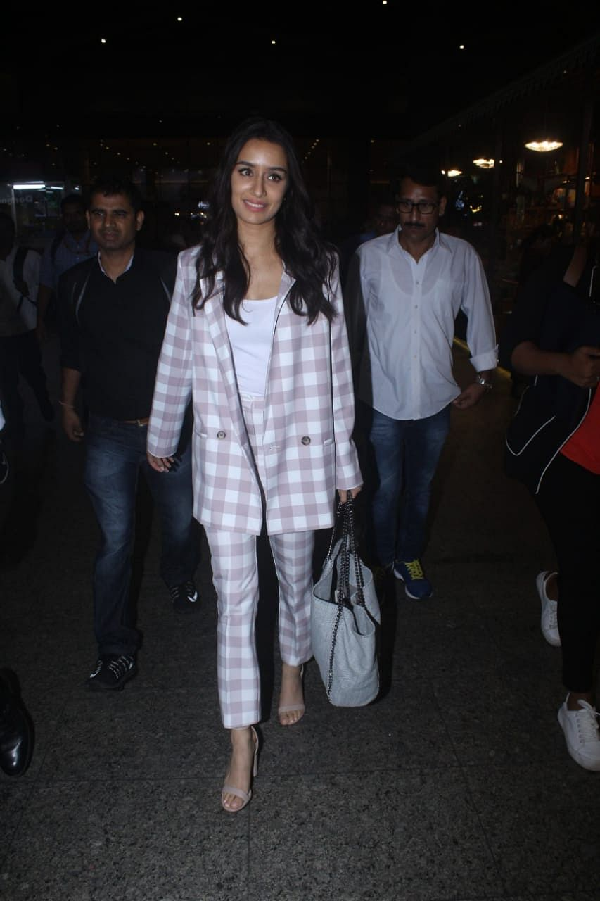 Shraddha Kapoor gearing up for Saaho snapped at Mumbai airport after finishing up film promotions in Hyderabad.