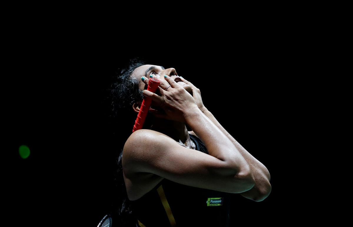 India's Pusarla Sindhu reacts during her final women's singles match against Japan's Nozomi Okuhara in 2019 Badminton World Championships at St. Jakobshalle Basel in Basel