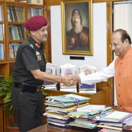 Major General Bipin Bakshi meets Assam Governor Jagdish Mukhi