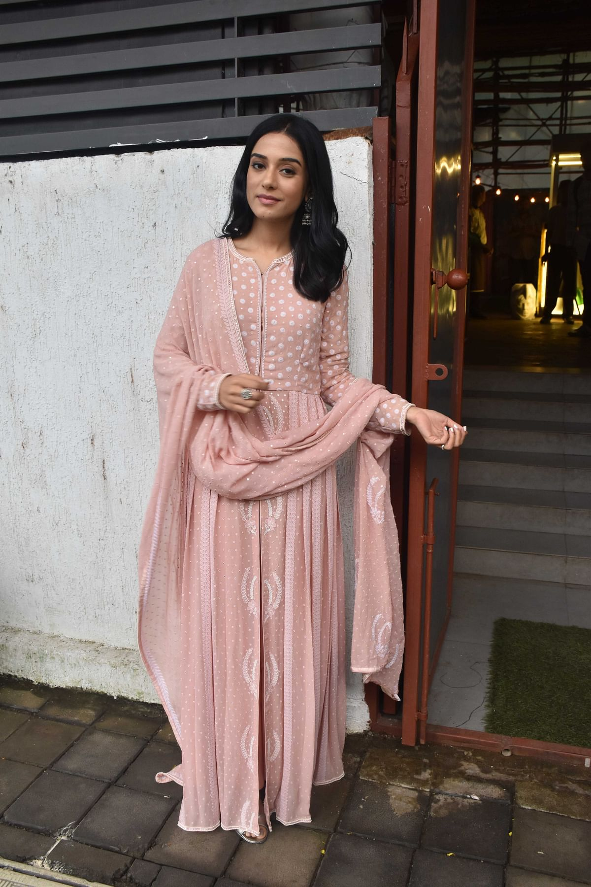 Amrita Rao snapped when she arrived at an event in Mumbai.