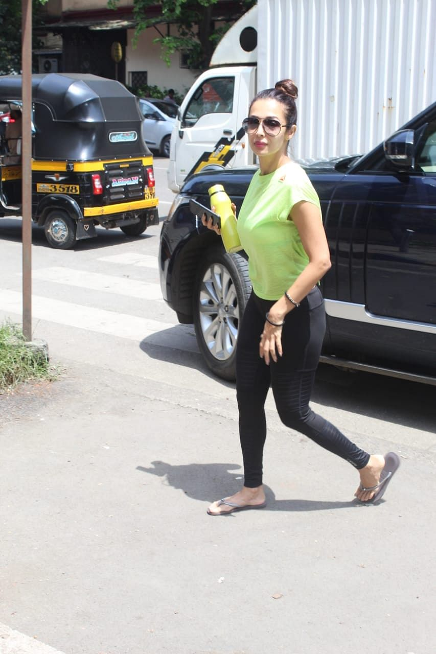 Fitness freak Malaika Arora was caught by lenses while arriving at Diva Yoga in Bandra.