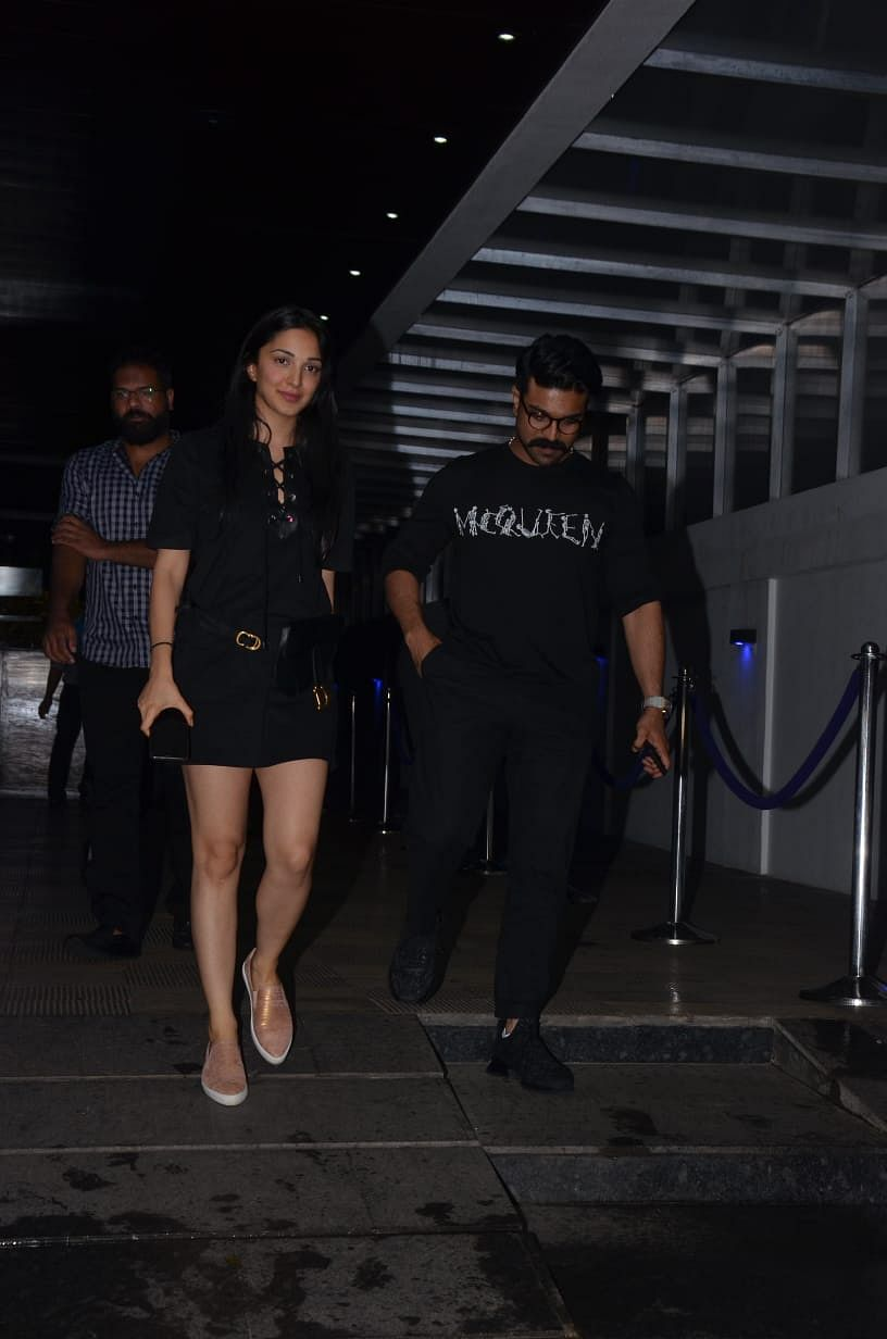 Kiara Advani who just wrapped up Netflix's 'Guilty' was snapped with and Ram Charan at Hakkasan post dinner in Bandra. The actress recently celebrated her birthday, and stunned fans by leaving the party with Sidharth Malhotra.