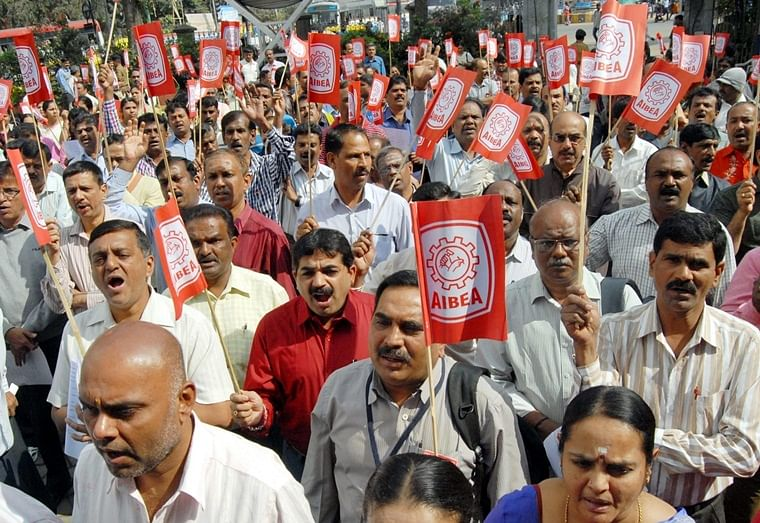 Bank employees stage protest against Centre's decision to   merge PSU banks