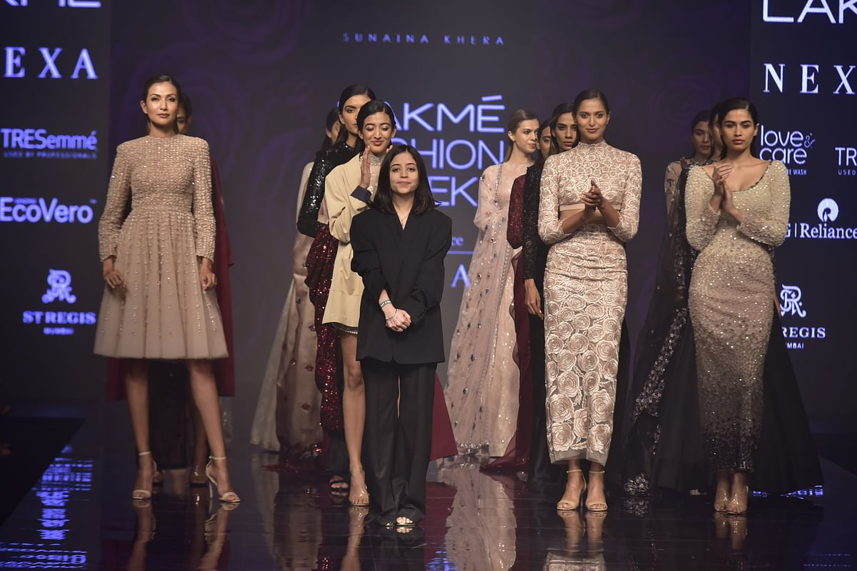 Designer Sunaina Khera with models donning the Dear Mom collection