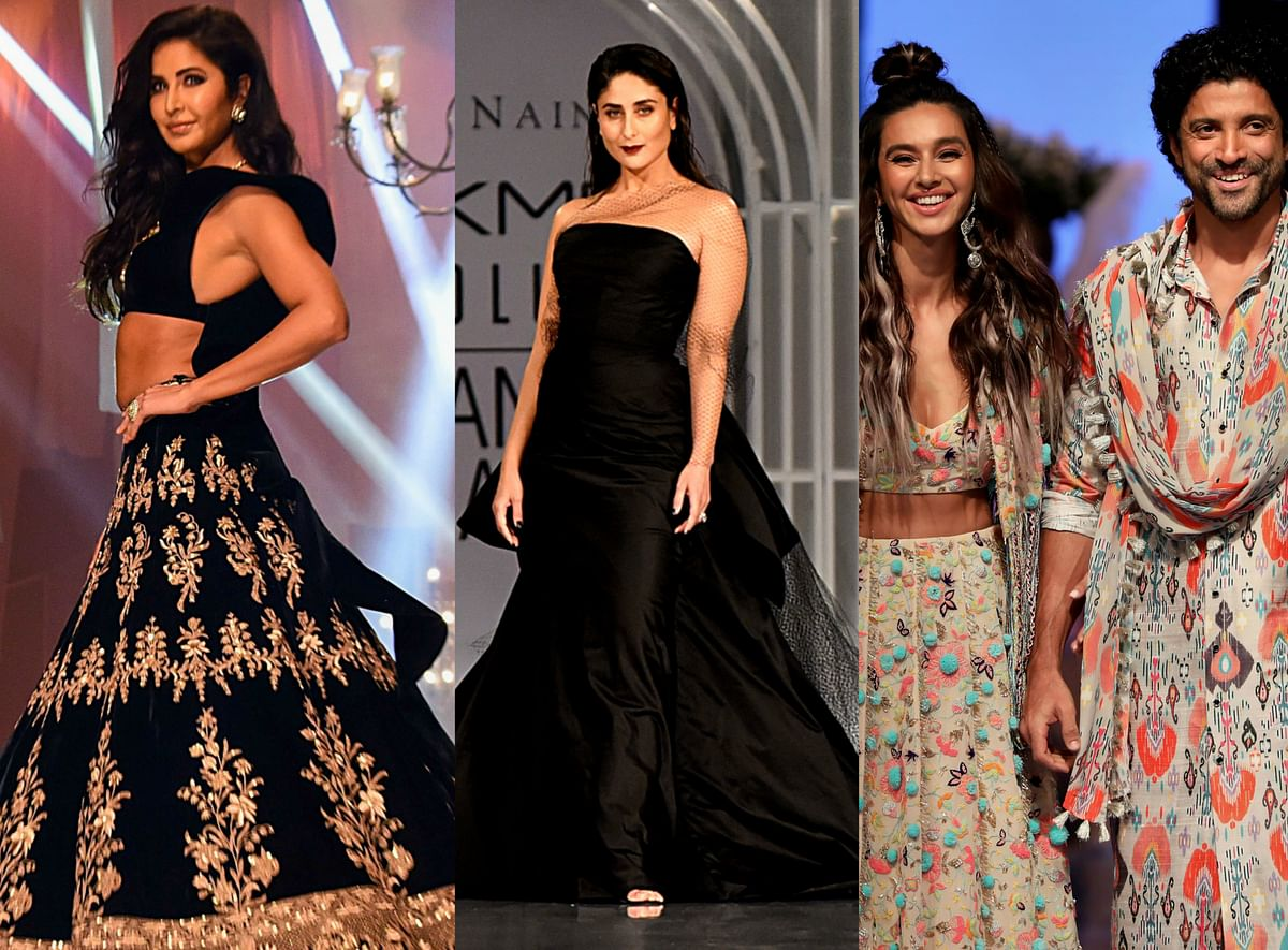 Kareena Kapoor wrapped in an all-black off-shoulder ensemble with layers of silk and net, the actor walked the ramp for closing designers Gauri & Nainika.