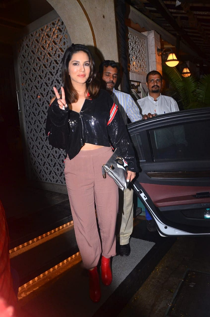 Sunny Leone was snapped at the Bayroot Hotel in Juhu.