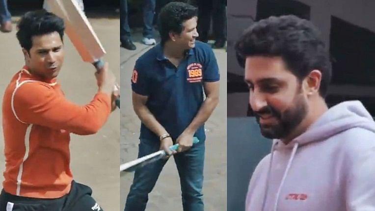 Watch Sachin Tendulkar enjoy 'Gully Cricket' with Abhishek Bachchan, Varun Dhawan