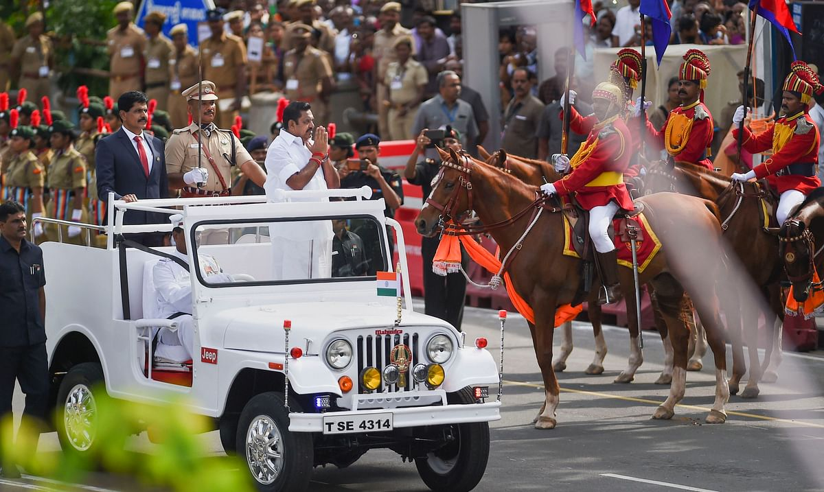 Tamil Nadu Chief Minister Edappadi K. Palaniswami reviews the parade during the 73rd Independence Day celebrations at Fort St. George in Chennai
