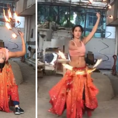 Nora Fatehi practices with fire-hoops just before shooting for 'O Saki Saki'