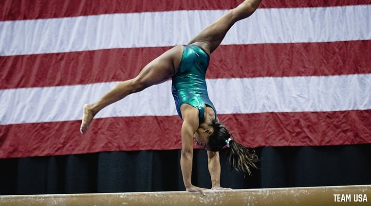 U.S. gymnastics champion Simone Biles becomes first woman in history to hit a triple-double