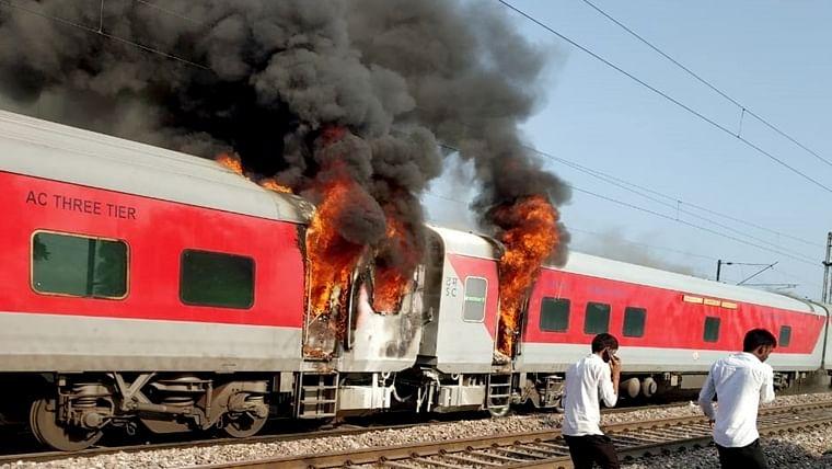 Fire in brake binding of Telangana Express