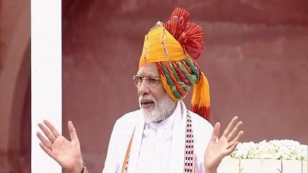 Prime Minister Narendra Modi delivering speech from Red Fort