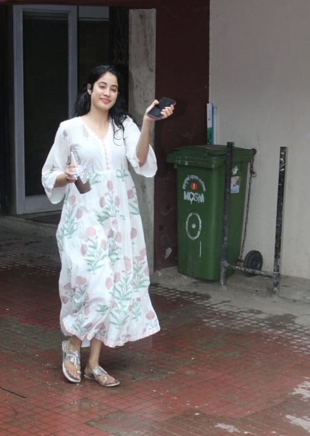 Jhanvi Kapoor was snapped in all white floral dress as she headed back home after a Pilates session