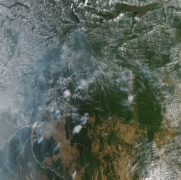 This satellite image provided by NASA shows several fires burning in the Brazilian Amazon forest