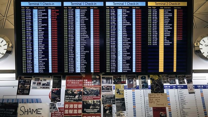Amid protests, hundreds of flights cancelled from Hong Kong airport