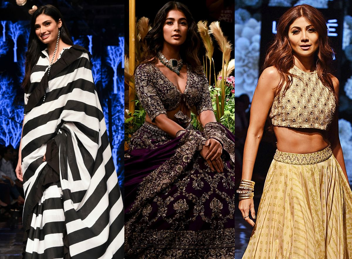 Bollywood actress Pooja Hedge turned showstopper for Designer Jayanti Reddy.