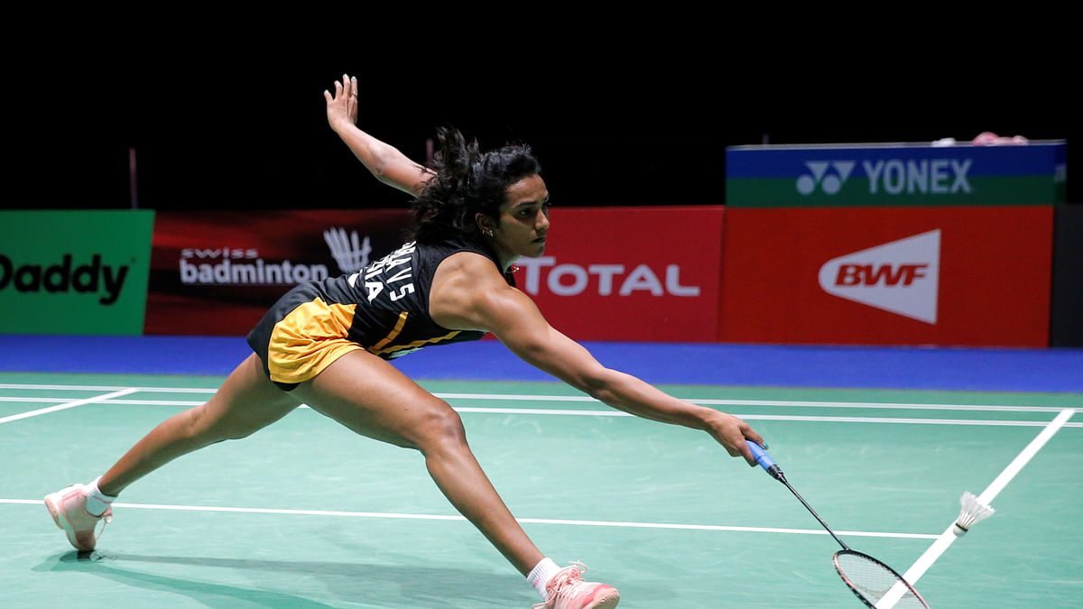 Switzerland: India's Pusarla V. Sindhu in action during her quarter-final women's singles match against Chinese Taipei's Tai Tzu Ying during 2019 Badminton World Championships - St. Jakobshalle Basel in Basel on Friday
