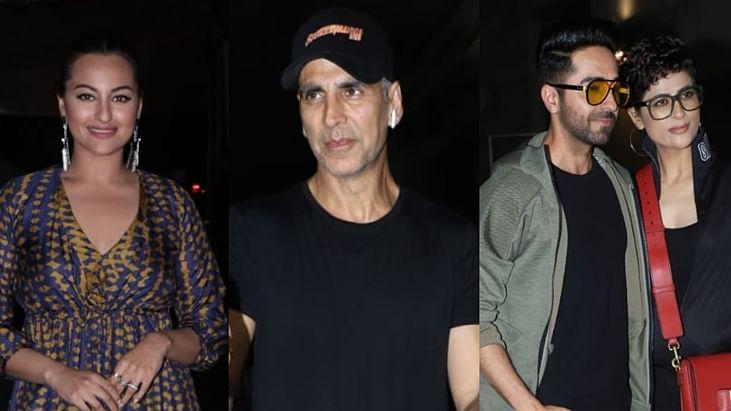 In Pics: Akshay Kumar, Ayushmann Khurrana, Sonakshi Sinha attend 'Khandaani Shafakhana' Screening