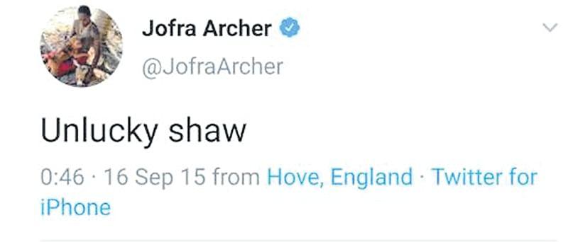 Post Prithvi Shaw suspension, Jofra Archer's freakish tweet grabs eyeballs again