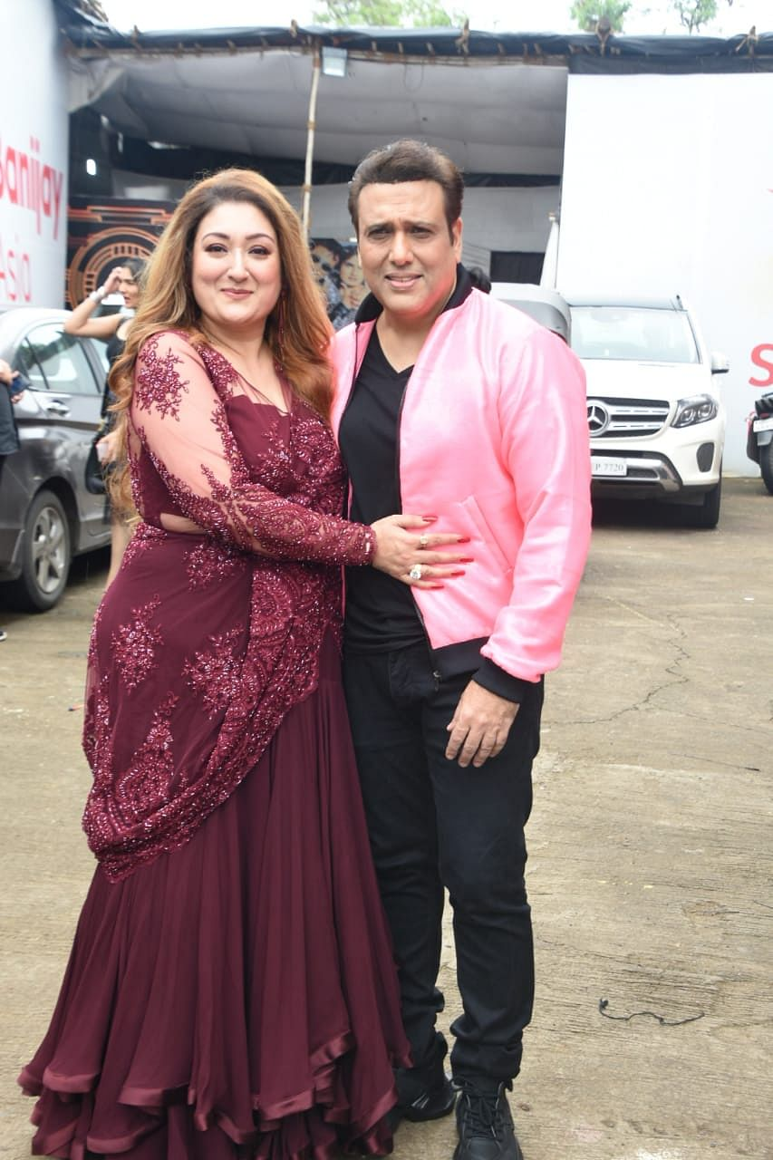 Govinda and his wife Sunita Ahuja on the sets of Nach Baliye 9