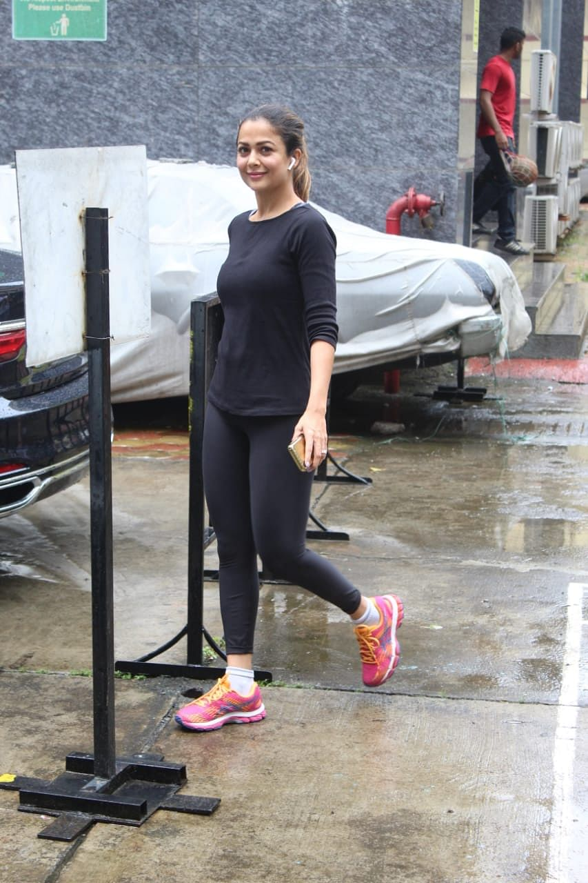 Paparazzi snapped Arora sister's outside the gym as they both were stepping out.