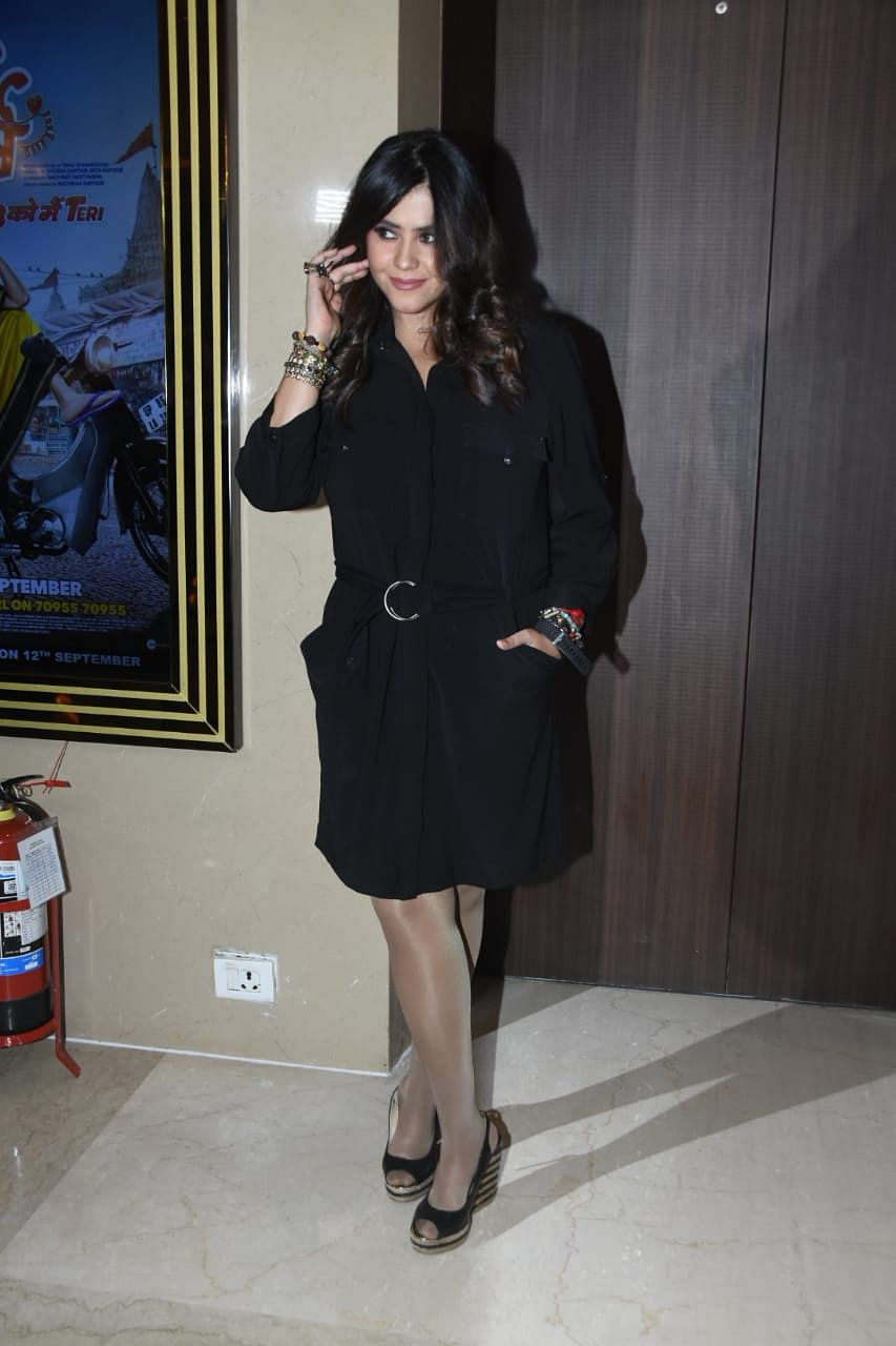 Filmmaker Ekta Kapoor is gearing up for the release of her next film 'Dream Girl'. She was spotted wearing a black dress at the trailer launch on Monday.