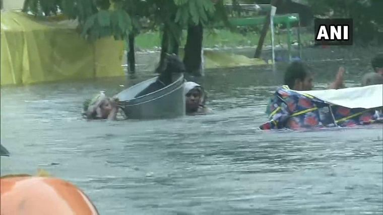 Heavy rainfall in Patna, Bihar leads to flooded streets.