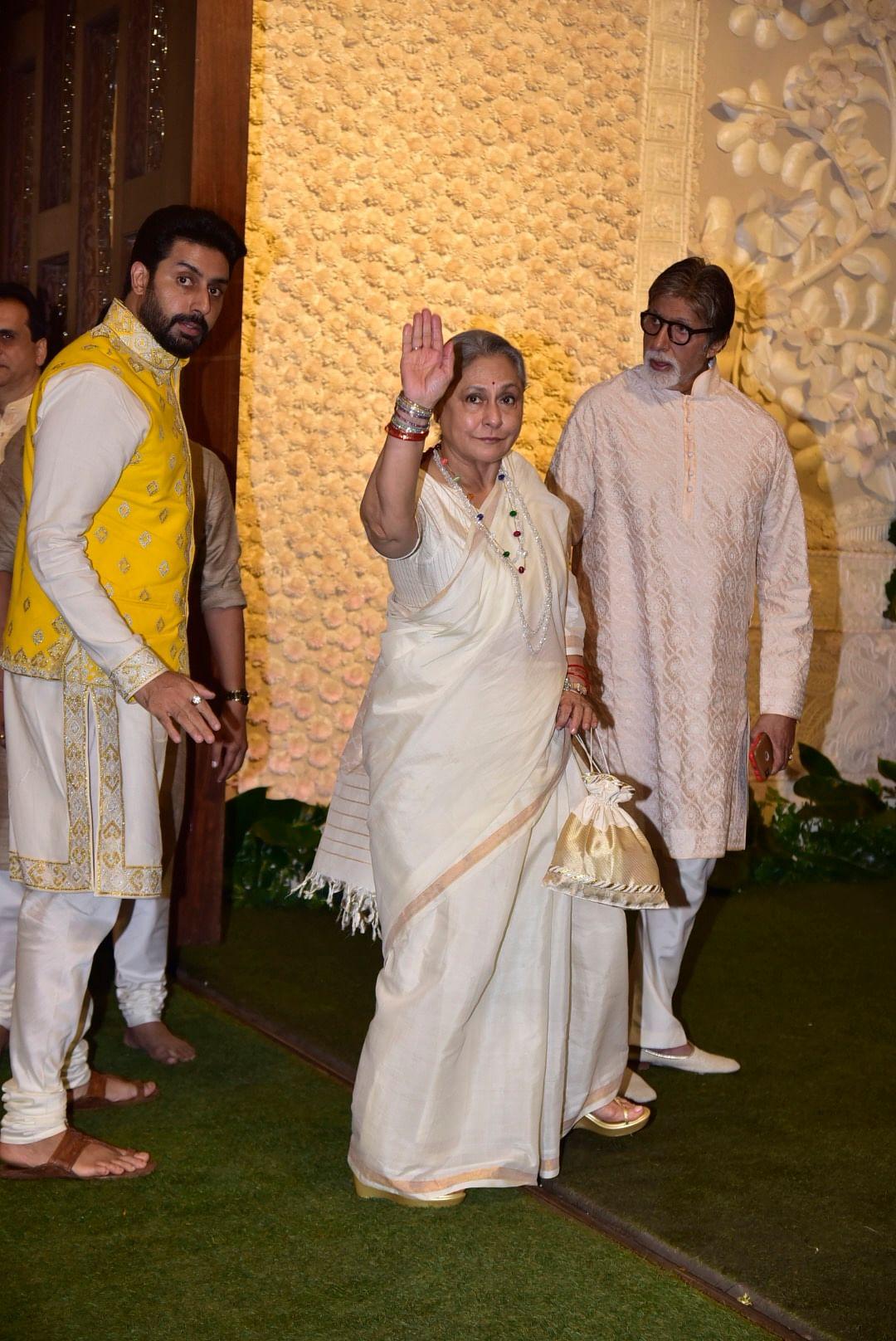 Amitabh Bachchan, Jaya Bachchan and Abhishek at Antilia Ganpati celebrations