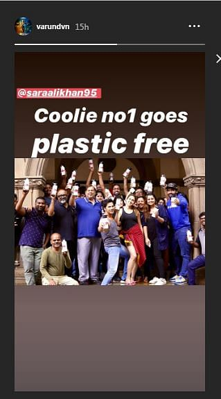 Varun Dhawan's 'Coolie No.1' cast and crew go plastic-free on sets