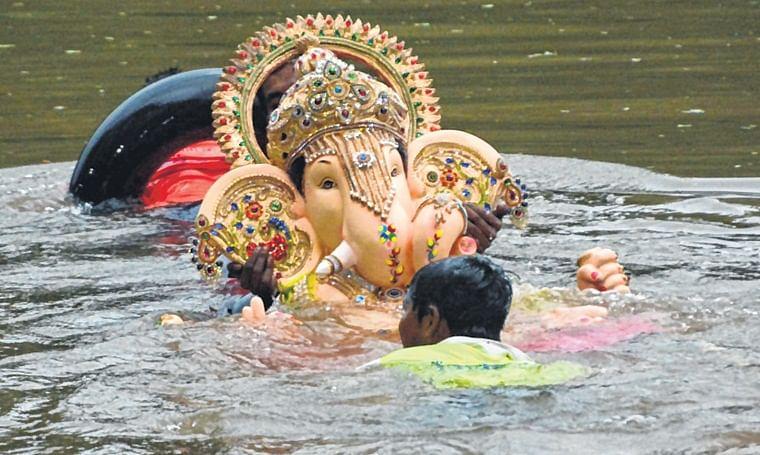 Ganpati immersion on 5th day at Borivali National Park.