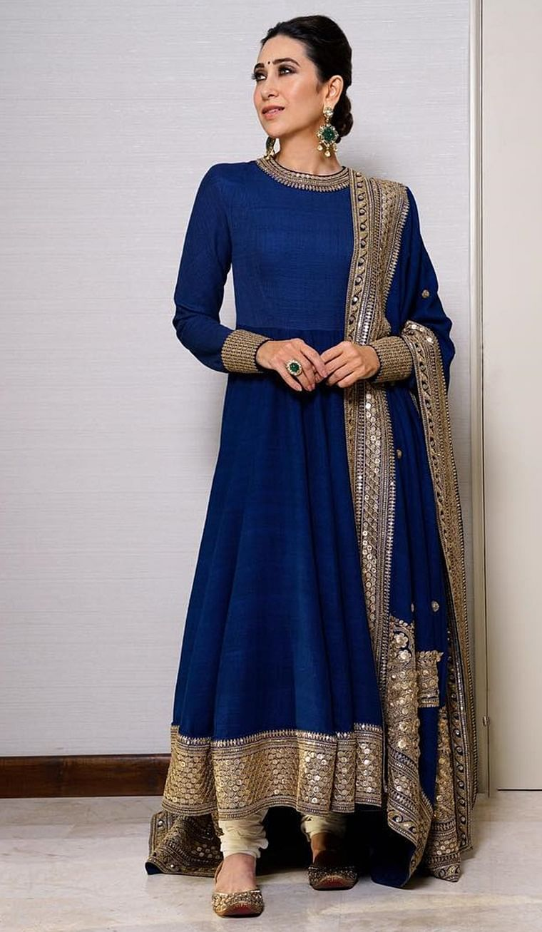 Karisma Kapoor teaches you how to wear this much loved colour. The royal blue colour is a star element in itself, and is best kept untouched with minimal accessories and embellishments.